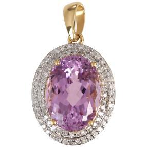 Anhänger 750 Gelbgold Kunzit Diamanten