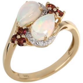Ring 585 Gelbgold Äthiopischer Opal Turmalin