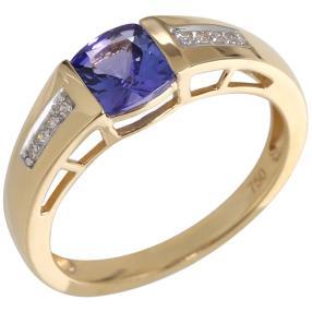 Ring 750 Gelbgold AAA Tansanit Diamanten