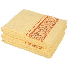 Handtuch 4tlg. Raute gelb, 50x100 cm