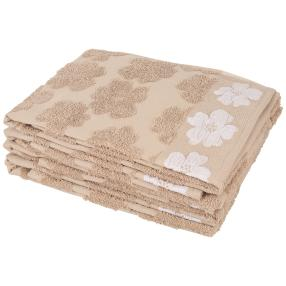 Handtuch 4-teilig, Blüten beige