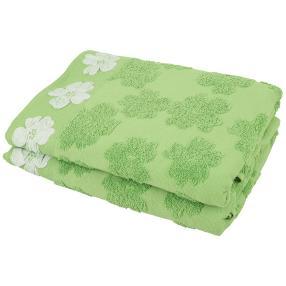 Duschtuch 2-teilig, Blüten grün