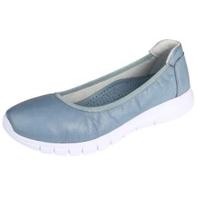CALVIN SMITH Damen Lederslipper, hellblau, weiß