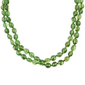 Collier Bernstein grün, oval