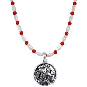Kette mit Münze 925 Sterling Silber Indianer
