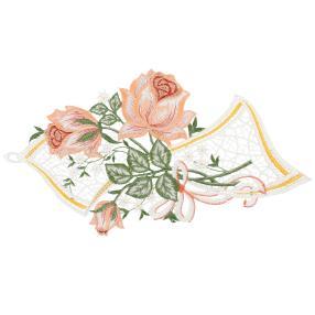 Plauener Spitze Fensterbild 'Rosen'