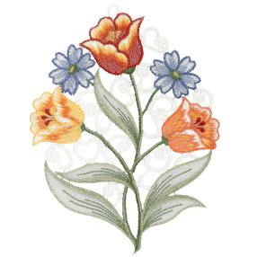 Plauener Spitze Fensterbild 'Blumen'