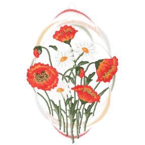 Plauener Spitze Fensterbild Margeriten+Mohnblumen