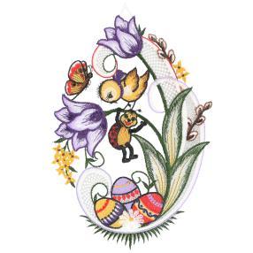 Plauener Spitze Fensterbild 'Blumen + Ostereier'
