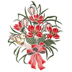 Plauener Spitze Fensterbild Vogel Blumengebinde