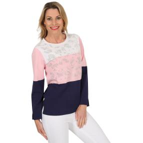 FASHION NEWS Damen-Pullover 'Joy' weiß/rosé/marine