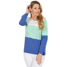 FASHION NEWS Damen-Pullover 'Joy' weiß/mint/royal