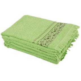 Handtuch 4-teilig hellgrün, mit Fransen