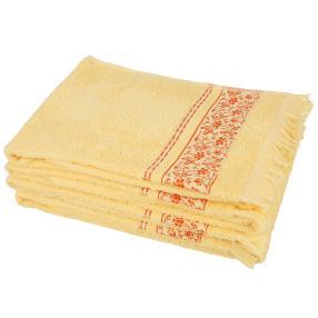 Handtuch 4-teilig gelb, mit Fransen