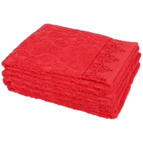 Handtuch 4-teilig rot, Ornamente