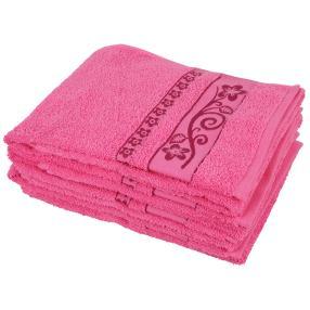 Handtuch 4-teilig pink, Lilien