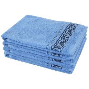 Handtuch 4-teilig blau, Ornamente