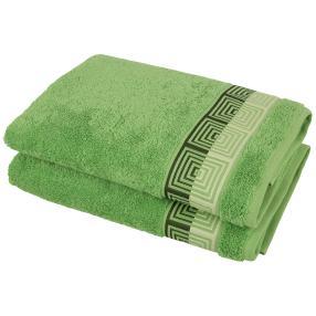 Duschtuch 2-teilig grün, Grafikmuster