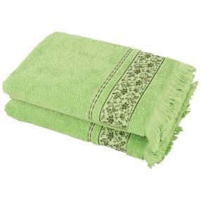 Duschtuch 2-teilig hellgrün, mit Fransen