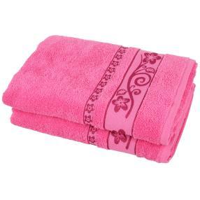 Duschtuch 2-teilig pink, Lilien