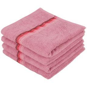Handtuch 4tlg. Bordüre mit Punkte, rosa, 50x100 cm