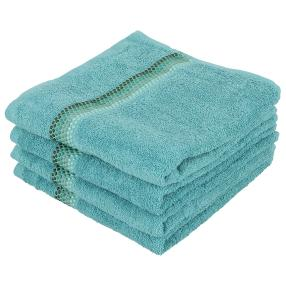 Handtuch 4tlg. Bordüre mit Punkte, grün, 50x100 cm