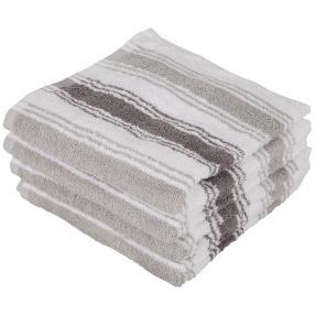 Handtuch 4-teilig, grau Streifen, 50 x 100 cm