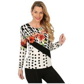 Damen-Pullover weiß/schwarz/multicolor