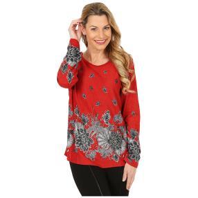 Damen-Pullover rot/grau