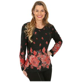 Damen-Pullover schwarz/rot