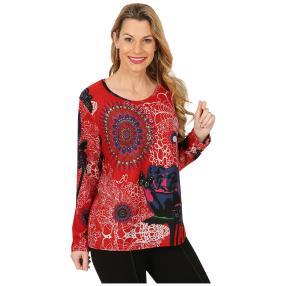 Damen-Pullover rot/multicolor
