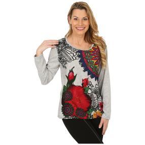 Damen-Pullover grau/multicolor