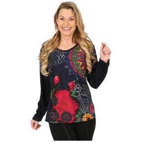 Damen-Pullover marine/multicolor
