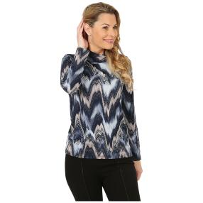 Damen-Shirt, Wasserfallkragen multicolor