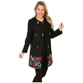 Bestickte lange Damen-Jacke schwarz/multicolor