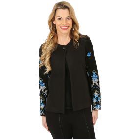 Bestickte Damen-Jacke schwarz/multicolor