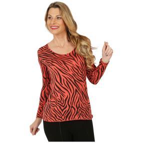 Damen-Pullover koralle/schwarz