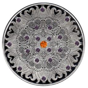 Mandala I Edelsteinmünze 21 Rhodolithe/Spessartite