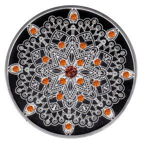 Mandala II Edelsteinmünze 21 Spessartite/Spinell