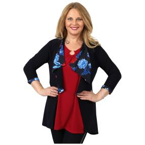 CANDY CURVES Longcardigan dunkelblau, multicolor