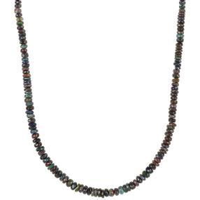 Collier Äthiopischer Opal schwarz, ca. 45 ct