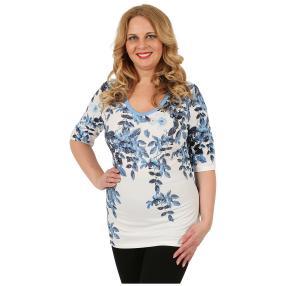 BRILLIANTSHIRTS Damen-Shirt 'Farina' weiß/blau