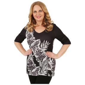 BRILLIANTSHIRTS Damen-Shirt 'Fabiola' schwarz/weiß