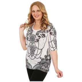 BRILLIANTSHIRTS Damen-Shirt 'Franca' schwarz/weiß