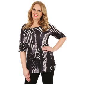 BRILLIANTSHIRTS Damen-Shirt 'Flavia' schwarz/weiß