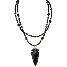 Kette +Anh. Onyx, Lava, ca. 80 cm