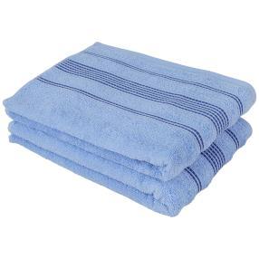 Duschtuch 2-teilig, Streifen blau, 70 x 140 cm