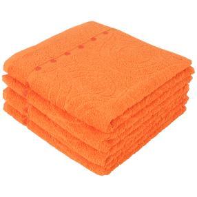 Handtuch 4-teilig, Ornamente & Tupfen orange