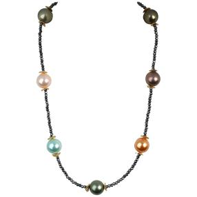 Collier Muschelkernperle bunt, 14mm