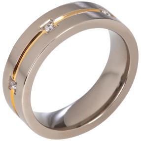 Ring Titan bicolor Zirkonia, ca. 3,6 g